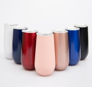 Wholesale 7 Colors 6oz Flute Egg Cups Wine Glasses Tumblers stemless Rose Gold Stainless steel Double Walled Vacuum Insulated Mugs With Clear Lid 666