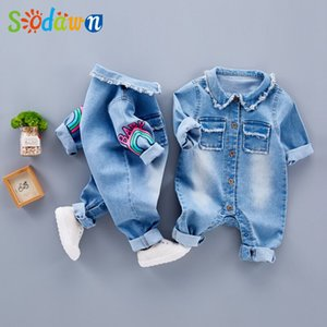 Wholesale Sodawn Infant Clothes Unisex Baby Clothing Cute Cartoon Giraffe Rainbow Baby Long Sleeve Baby Suit Fashion Children Clothes Y18120601