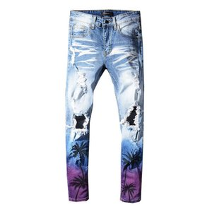 Wholesale Mens Hollow Out Jeans Light Blue Ripped RAOBIN Jeans For Men Elastic Coconut Tree Printed Broken Pants Hip Hop Art Painted Jeans Homme