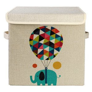 Wholesale Cartoon Folding Collection Box Toy Snacks Storage Box Covered Linen Cloth Storage Bin