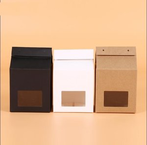 Wholesale Kraft Paper Window Box Stand Up Paper Bag With Rope White Black Brown Handle Christmas Party Favor Packaging Bag