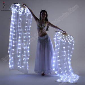 Wholesale New Belly Dance Silk Fan Veil LED Fans Light up Shiny Pleated Carnival LED Fans Stage Performance Props Accessories Costume
