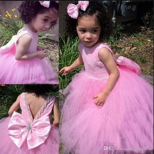 Wholesale Sweet Little Girls Birthday Party Gowns with Big Bow Beading New Long Tulle Flower Girl Dress For Wedding Custom Made Prom Dress