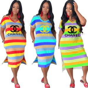 Wholesale Luxury designer women dresses rainbow Stripe T shirt Long Dress Fashion Brand Colorful women girls Dresses Party Dresss Clothing C7306
