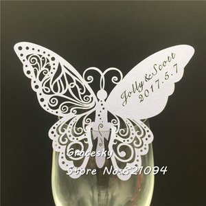 Wholesale 50pcs Butterfly Shape laser Cut Place name Seat Cup Card Wedding Invitation glass Cards text personalized