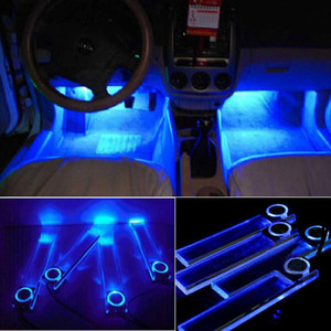 Wholesale 4pcs set LED Car Interior Auto Atmosphere Lights Car Charge LED Atmosphere Light Decoration Lamp Car Styling Foot Lamp Blue light GGA208