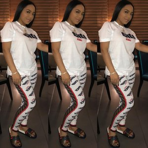 Wholesale 2019 F Letter Print Women Tracksuit Short Sleeve Top Pants Sets NightClub Fashion Ladies Two Piece Outfits Jogging Suits S XXL C442