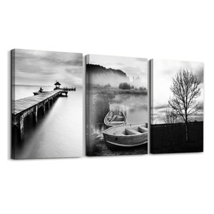 Wholesale painting landscape art image resale online - Three Pieces white Vintage landscape paintings printed on canvas modern art Pictures images framed gifts for home wall decoration