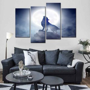 Wholesale set moon canvases for sale - Group buy 4 Set Abstract Animals Wolves Canvas Print Painting Modern Wolf Howling with Moon Wall Art Picture Living Room Decor
