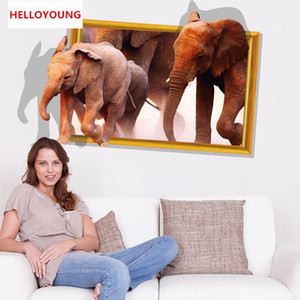 Wholesale african home decor walls resale online - DIY Home Decor Removable D The New African Elephant Wall Stickers Kids Room Waterproof Wallpapers Mural All match style