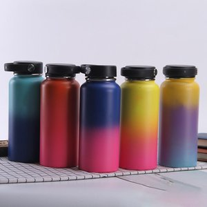 Wholesale 32oz oz Hydro Vacuum Insulated Flask Stainless Steel Water Bottle Wide Mouth with Sport Straw Flex cap