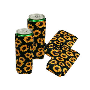 Wholesale Whoesale Slim Can Cooler Neoprene Cup Sleeve Sunflower Rainbow Print Beer Cooler Bags Foldable Stubby Holders