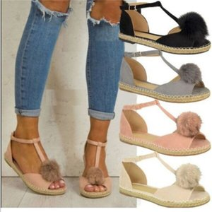 Wholesale Shoes Flats Shoes Woman Peep Toe Sandalia Feminina Bowknot Casual Platform Buckle Strap Flock Sandals