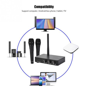 Wholesale Handheld Mini Home KTV Wireless WIFI Karaoke Machine with Two Microphone Metal Mesh Protection Net