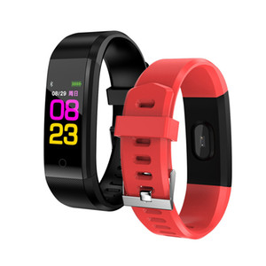 Wholesale 115 plus Smart Wristband fitness tracker Watch Health Heart rate band Smart Bracelet for Men Women roid Cellphones with Box