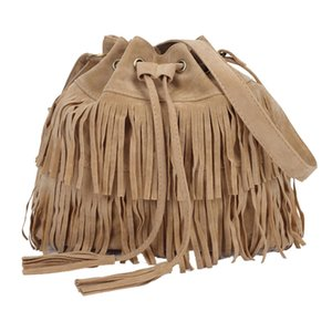 Wholesale 1woMen Messenger Across Bags Large Capacity Messenger Bags Fringed Bucket Purse Tassel Faux Suede Shoulder Bag