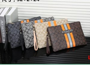 Wholesale Free post new letter dark flower large business clutch bag computer bag quality classic wrist men s multi function envelope bag