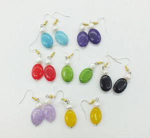 Wholesale free delivery pairs X18MM natural Brazilian semi precious stones and pearls charm ladies earrings