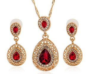 Wholesale popular necklace styles resale online - red sets New style More popular Personality red water drop Jewelry Sets For Lady Earrings Necklace