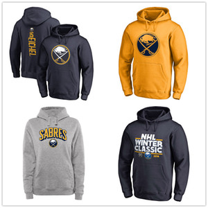 Wholesale #15 Jack Eichel Men's Buffalo Sabres Hockey Hoodies Black Ash Gray Sport Hoody Fans Tops Jackets free shipping branded printed Logos