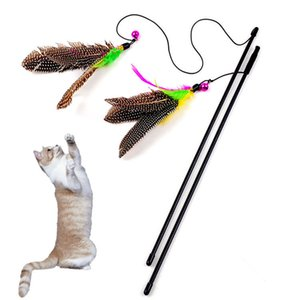 Wholesale 1 Colorful Multi Pet Cat Toys Cute Design Bird Feather Teaser Wand Plastic Pet Toys Products For Cat Toy