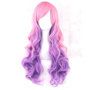 Wholesale Soowee Colors Wavy Women High Temperature Fibric Synthetic Hairpiece Pink Blue Ombre Hair Accessories Cosplay Wigs