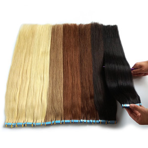 24 Inch 100Gram 40Pcs Seamless Tape in Remy Human Hair Extensions Platinum Blonde Color #60 Straight Real Human Hair Extensions Tape in Hair