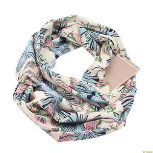 Womens Double Layer Secret Hidden Zipper Pocket Infinity Loop Scarf Boho Style Floral Geometric Printed Winter Ring Blanket