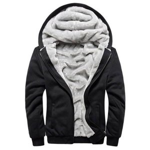 Wholesale Mens Designer Winter Thick Warm Fleece Lined Hoodie with Pockets Full Zip Sweatshirt Windproof Hooded Pullover Outdoor Casual Jumper Jacket