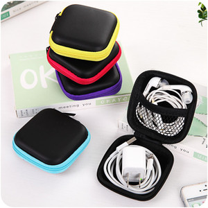 Wholesale Mini Colors Zippered square Storage Hard Bag Portable Earbuds Pouch box Protective USB Cable Organize cyq012