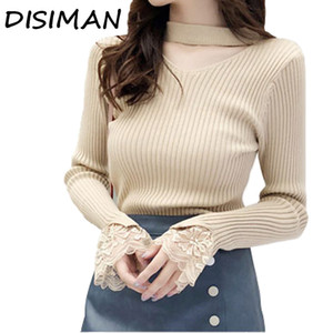 Wholesale DISIMAN sweater women korean style women fall neck sweaters pullover womens tops and blouses clothing sweaters tops