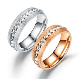 Wholesale New Fashion Sanded Inner and Outer Balls Filled with Diamond Single Row Couple Ring Steel Rose Gold mm