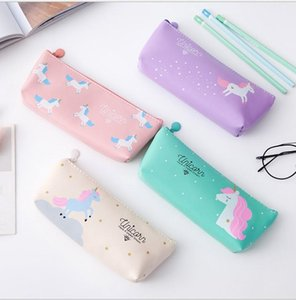 Wholesale Nice Purse Style Unicorn Canvas Pencil Bag Cartoon Pencil Cases Stationery Storage Organizer Bag School Office Supply Kids Gift