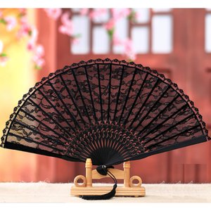Wholesale Chinese Style Black Decorative Fans Lace Fabric Silk Folding Hand Held Dance Fans Flower Party Wedding Prom D19010902