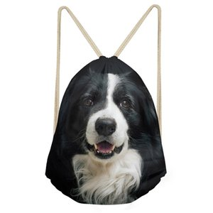 Wholesale FORUDESIGNS Cute D Dog Border Collie Print Mini Backpack Women Drawstring Bag School Bags for Teenage Girl Cinch Sack Sac A Dos