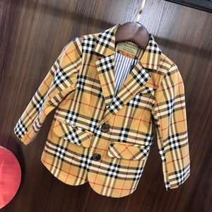 Wholesale Boy suit jacket kids designer clothing autumn new cotton color woven plaid coat fashion classic plaid blazer