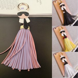 Wholesale Free DHL Colors Women Keyring Leather Tassel Keychain Car Circle Key Rings Mobile Phone Hanging Handbag Accessories Christmas Gift H995F
