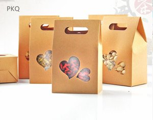 Wholesale 5Pcs Standing Up Paper Box With PVC Heart Shape Window For Gift Present Packaging Box Handle Bag Kraft Paper Decorations
