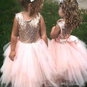 Wholesale tea length pink wedding gown resale online - Sparkly Pink Flower Girl Dress Sequined with Bow Handmade Party Gown Customized Wedding Tiered Tulle Skirt Tea Length Pageant Dresses