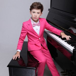 Wholesale New Popular Hot Pink Boys Formal Occasion Tuxedos Peak Lapel Kids Wedding Tuxedos Child Party Holiday Blazer Suit (Jacket+Pants+Tie) 92