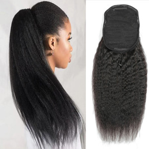 Kinky Straight Human Hair Ponytail Brazilian Virgin Ponytail Hair Extensions With Clips In Cheap Coarse Yaki Ponytail Drawstring For Women