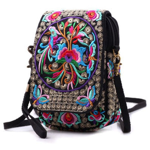 Wholesale Vintage Printed Handmade Women Mini Crossbody Bag Cellphone Pouch Small Handbag Coin Purse