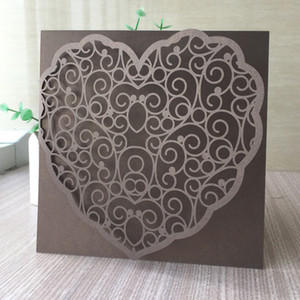 35PCS  lot Hollow Laser Cut Ring Wedding Invitation Cards Big Big Heart Lace Design Party Invitations Cards