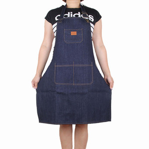 Wholesale Denim Apron Cook Men And Women Waiter Milk Tea Shop Work Aprons Thickening Coverall cooking Durable home kitchen clothes dress FFA2605