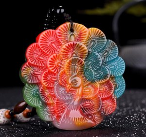 Wholesale Xinjiang Gobi jade chicken blood jade floating flower peacock open screen pendant colorful jade lucky pendant pendant