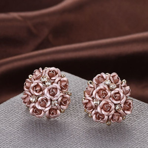 Wholesale Fashion Blue Black Round Bouquet Crystal Rose Gold Wedding Flower Rhinestone Stud Earrings For Women Jewelry Earring Set
