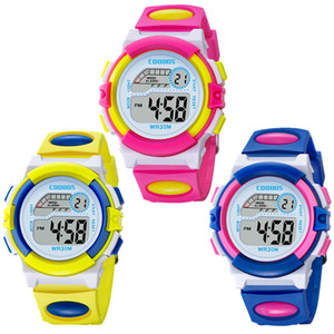 Wholesale Colorful design fashion girls boys sport led digital watch COOBOS electronic Multifunction children gift party Kids watches