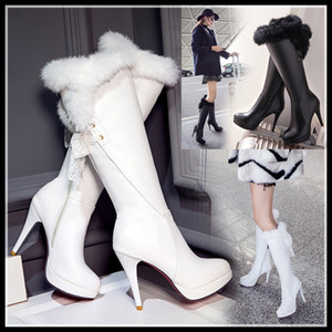Wholesale Hot Sale Plus Size to Over The Knee Boots Bridal Wedding Shoes Black White PU Leather Fur Boots