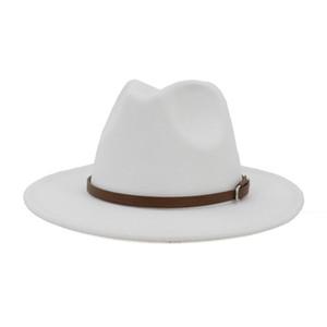 European US Women Men Artificial Wool Felt Fedora Hats with Coffee Leather Band Wide Brim Panama Jazz Cap White Black Large Size