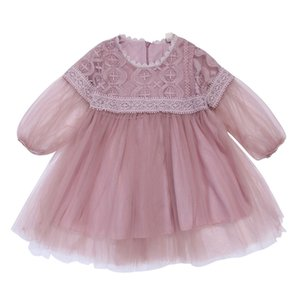 vestidos de novia de niña recién nacida al por mayor-2019 Flower Baby Girl Kids Princess Cotton Lace Mesh Mini Tutu Dress Newborn Summer Party Wedding Pageant Vestidos Vestidos Ropa